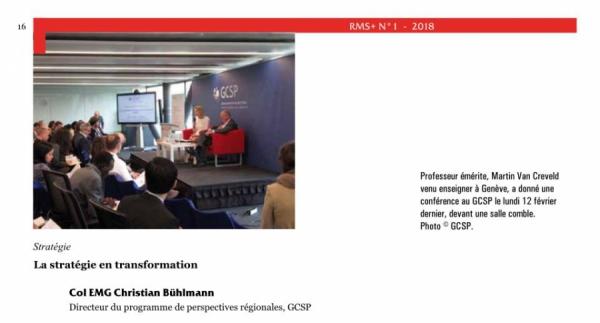 """Nouvelle publication: """"La stratégie en transformation - Conférence de Martin van Creveld au GCSP"""""""