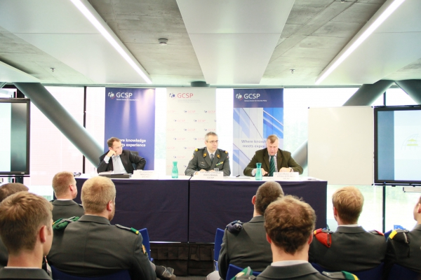 From Left to Right: Dr Gianluca Maspoli, GICHD, Advisor for Security and Development; Col (GS) Christian Bühlmann, GCSP, Head of the Regional Programme; and Lieutenant-General (Retd) Michel Stollsteiner, DCAF, Senior Defence Advisor to the Director